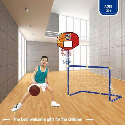 Kids In//Outdoor Soccer Goal//Basketball Hoop Standing Set Children Sport Training