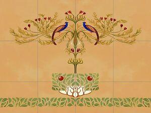 Peacock Tole Mural Kitchen Ceramic Tile Back Splash Ceramic Art Deco Nouveau Ebay
