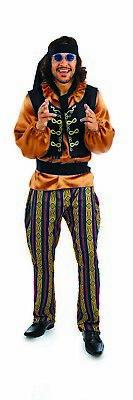1960s Costume Hippie Rockstar M Lsxl Adulto 60s Sonny Cantante Hippy Costume-mostra Il Titolo Originale Squisita Arte Tradizionale Del Ricamo