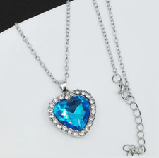 5f99e488 Heart of The Ocean Blue Silver Necklace Chain Costume Jewellery Gift ...