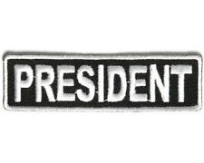 "PRESIDENT 3.5"" x 1"" iron on patch (3708) Biker Club Rank Title"