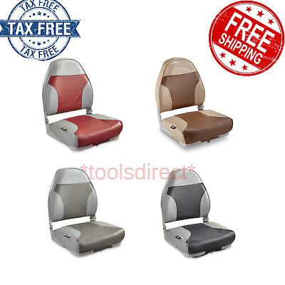 Boat Seat High Back Folding Fishing UV Resist Bench Marine Foam Padding Gray//Red