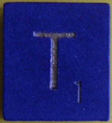 Scrabble Tiles Replacement Letter T Blue Wooden Craft Game Part Piece 50th Ann.