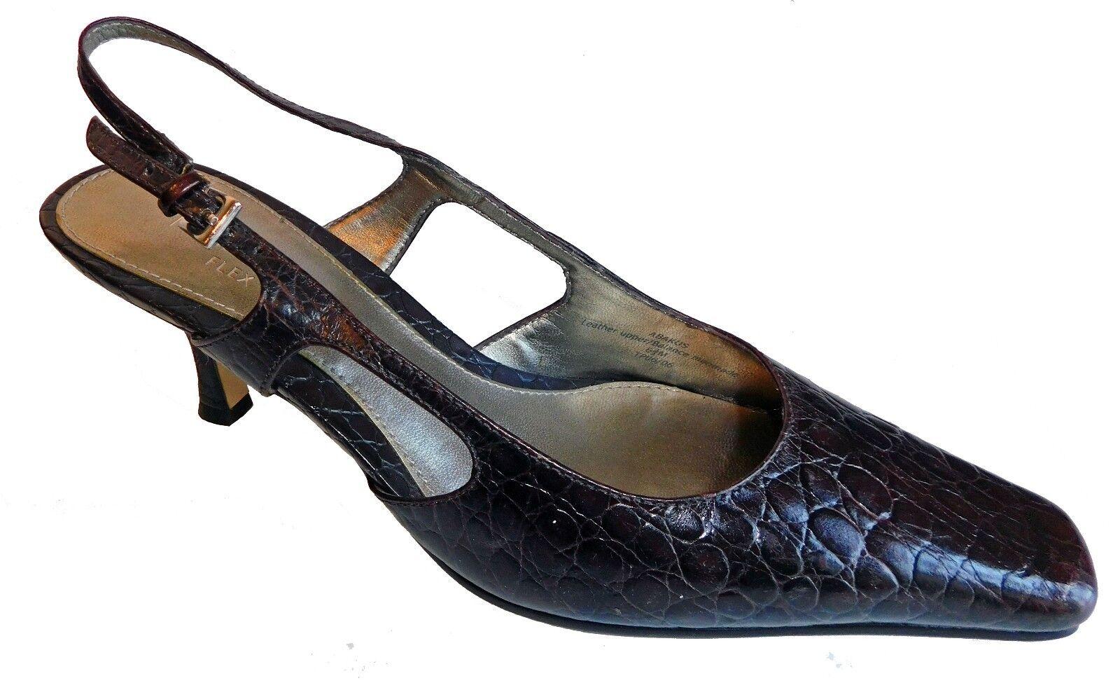 Liz Claiborne Flex ABAKUS Pumps Womens Leather Croc Slingback Pumps ABAKUS Heels Brown SZ 6.5 bd07a3