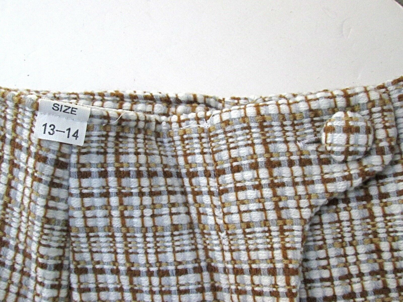 NOS w/Tag Vtg 70s Mod Brown Cream Check Tweedy 2-… - image 7
