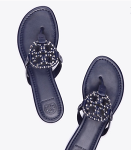 Tory-Burch-NEW-Miller-Navy-Leather-Embellished-Logo-Sandals-Sizes-US-6-6-5-7-5