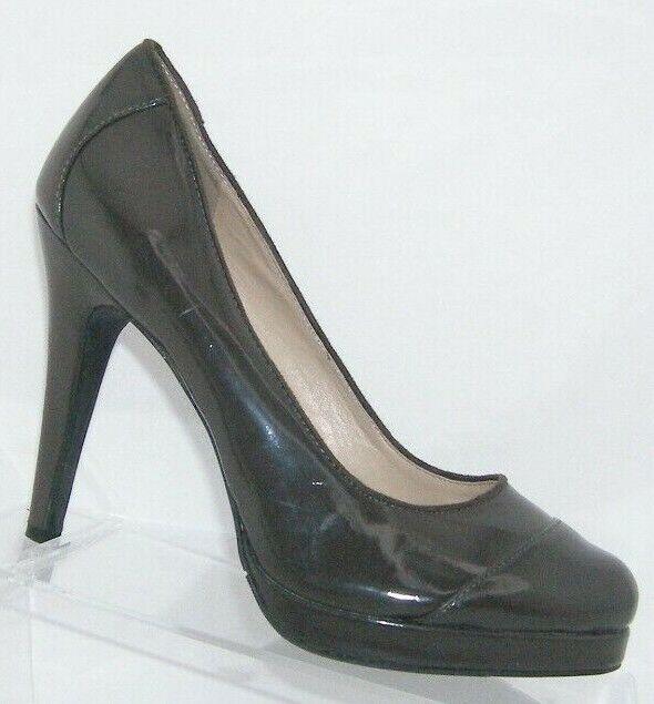Victor Alfaro 'Clairette' brown man made round cap toe platform heels 7.5B