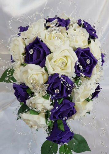 Brides Teardrop Bouquet Wedding Flowers Ivory Cadburys Purple Diamante Butterfly