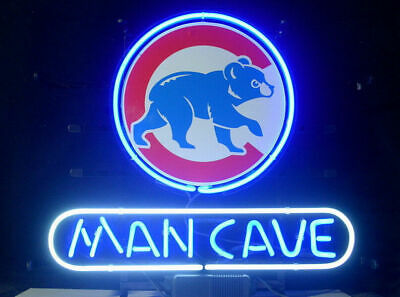 """Man Cave Chicago Cubs 14/""""x10/"""" Neon Sign Lamp Light Beer Bar With Dimmer"""