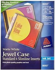 avery cd dvd jewel case inserts for ink jet printers white pack of