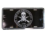 The 2nd Amendment Liberty Or Death 1789 Skull Rifles Aluminum License Plate Tag