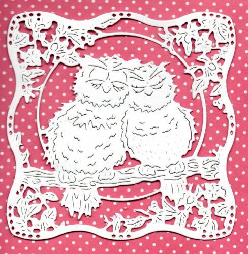 6 Nuevo Con Dibujo De Búho Tapiz Love Scene dado corta-Cumpleaños Bodas San Valentín Topper