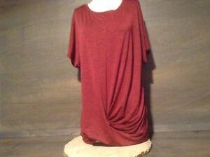 Women-Short-Sleeve-Twist-Front-Tunic-Tops-MARLED-DARK-ORANGE-NWOT-S-M-XL