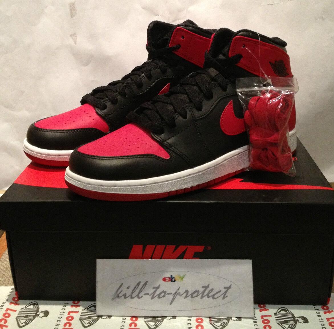 NIKE Air Jordan 1 allevati GS Kids SZ UK osta 4 5 6 7Y Nero Rosso 575441-023 vietato