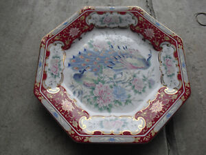 """Other Asian Antiques Vintage Japan Hand Painted Peacock Flowers Serving Plate Or Charger 10 1/2"""" Wide Asian Antiques"""