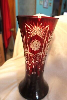 "Vintage Czech Bohemian Ruby Cut To Clear 11-3/4"" Vase Star Fan Dot Palm Leaf H Fast Color Pottery & Glass"