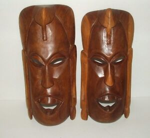 Details About Vintage Hand Carved Wooden Masks Wall Hangings Set Of 2 13 12 In Height