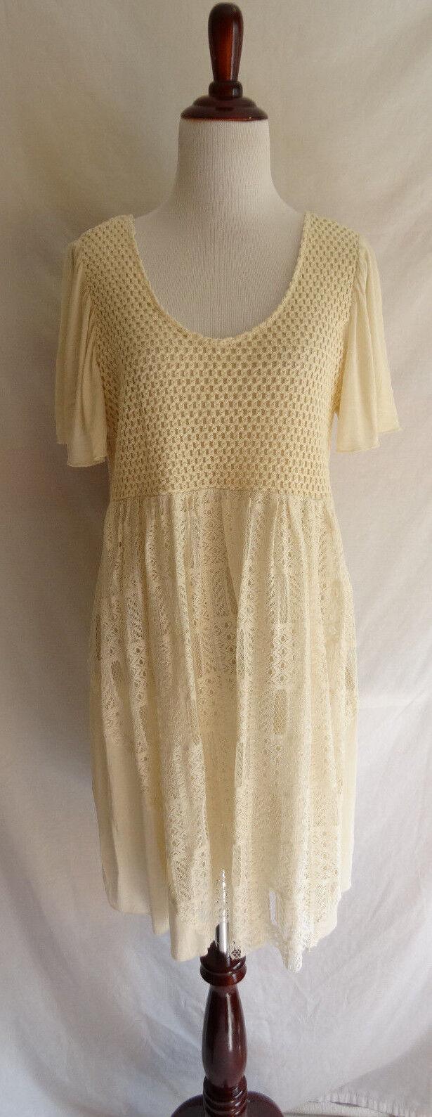 NWT Anthropologie Hazel Cream Crochet Lace Summer Boho Festival Gypsy Dress M L