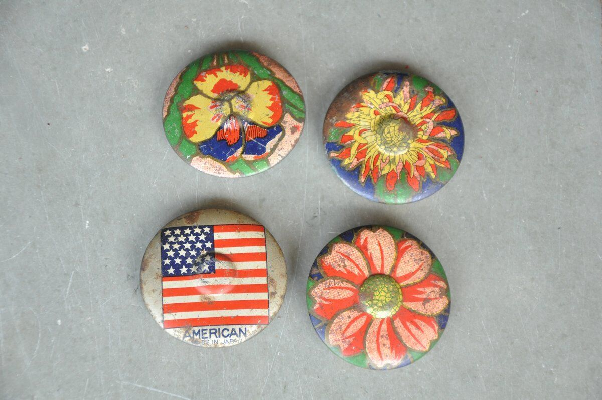 4 Pc Vintage Different Flower & American Flag Litho Baby Tin Toy , Japan