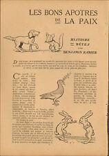 BENJAMIN RABIER ANIMAUX  HISTOIRES DE BETES ARTICLE DE PRESSE 1918