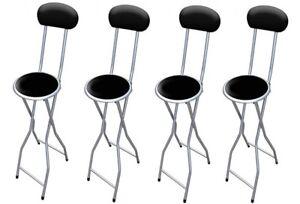 Détails sur 4 XBlack rembourré pliant chaise haute petit déjeuner cuisine PVC Tabouret de bar soft siège 94 cm afficher le titre d'origine