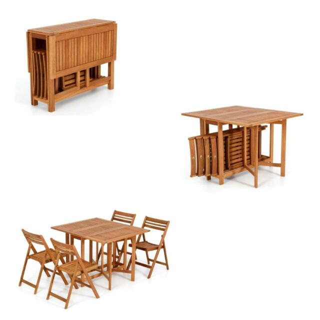 Tavolo Richiudibile Legno.Salmar California Dining Set Di Tavolo Richiudibile E 4 Sedie Pieghevoli Eucalypto