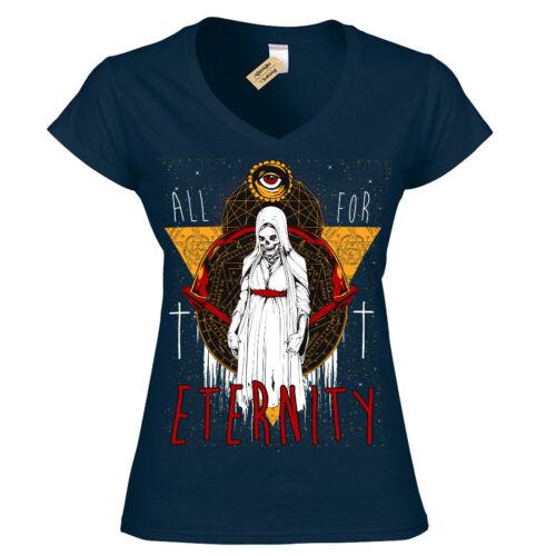 For Eternity T-Shirt demon nun evil priest Womens Ladies V-Neck