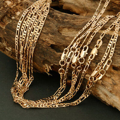 Lots 1/5/10pcs Men 2mm 18K Gold Plated Italy Figaro Chain Necklace 16-24 inch