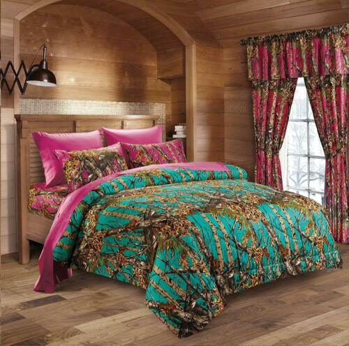 7 piece Teal Woods Camo comforter Full Hot Pink sheet pillowcases