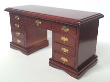 Kneehole Desk In Mahogany, Dolls House Miniature Furniture, Study Office 1.12th
