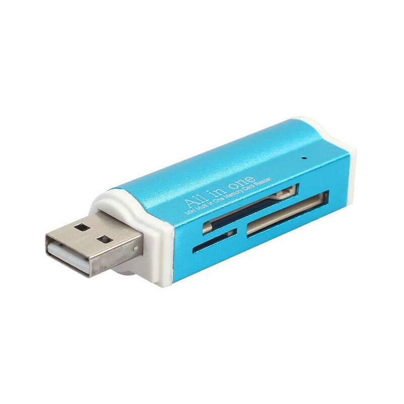 4 in 1 Lighter Shape Blue USB Memory Card Reader Adapter for Micro SD MMC SDHC