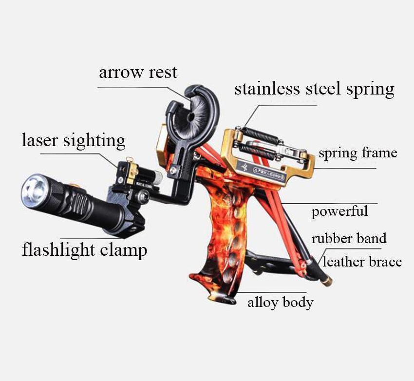 Laser Linterna tiro con arco Flecha De Caza De Pulsera catapulta resto Pesca Rojo