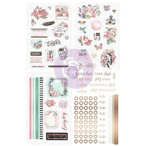 Prima Flowers HAVANA Stickers Set w// Foil 114pc Scrapbook Tags Planner 597771
