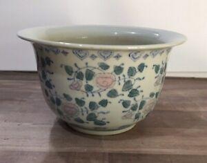 Asian-Porcelain-Ceramic-Planter-Floral-Design-White-Blue-Pink-Green-Vintage