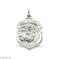 Shiny High Polish 925 Sterling Silver St Saint Michael Badge Police Pendant