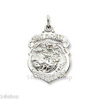 Shiny High Polish 925 Sterling Silver St Saint Michael Badge Police Pendant