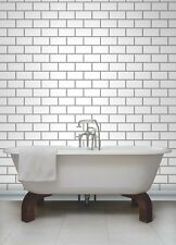 White & Grey Subway Tile Effect, Tiling on a Roll, Bathroom / Kitchen Wallpaper