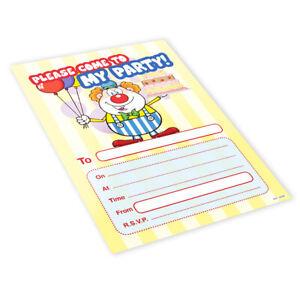 20x-Childrens-Kids-Birthday-Party-Invitations-Invites-Pack-Blank-Clown