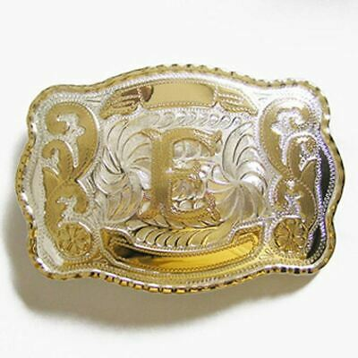 """Initial /""""E/"""" Letter Oval Gold /& Silver Rodeo Western Cowboy Metal Belt Buckle"""