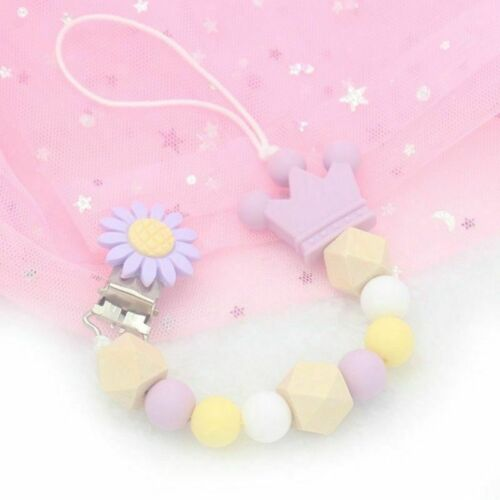 Wooden Bead Dummy Clip Holder Pacifier Soother Chains Baby Teething Fashion