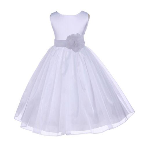 GORGEOUS SATIN ORGANZA DRESS FLOWER GIRL BIRTHDAY PAGEANT COMMUNION EASTER CHILD