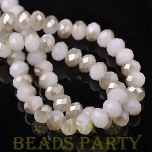 Hot-30pcs-8X6mm-Rondelle-Faceted-Loose-Spacer-Glass-Beads-Jade-White-amp-Gray