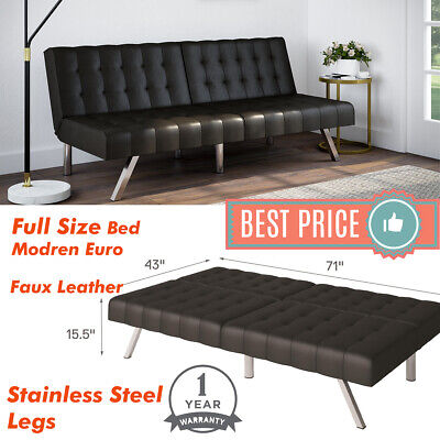 Tufted Convertible Faux Leather Futon