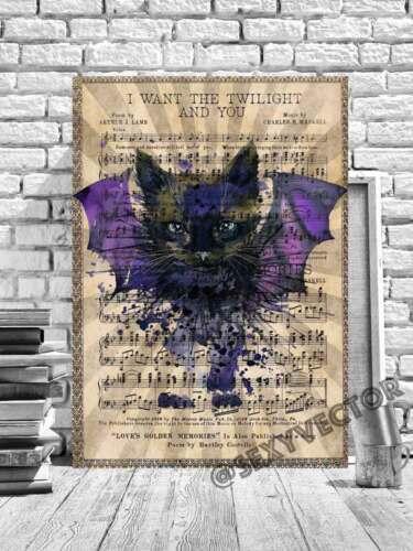 CAT BAT ILLUSTRATION FRAMED CANVAS PICTURE HALLOWEEN ARTWORK LYRIC PAGE ART #219