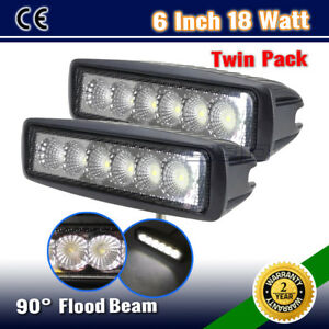 2PCS-6INCH-18W-SLIM-FLOOD-DRIVING-OFFROAD-FOG-DRL-SPOT-WORK-LIGHT-BAR-W-36W-126W