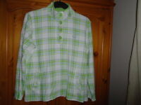 Green and white check long sleeve top, part button fastening, DAVID EMANUEL, 14
