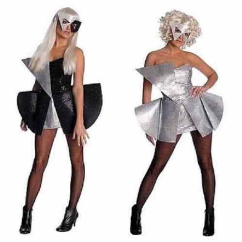 Lady Gaga Pop Rock Star Sequin Fancy Dress Halloween Teen Adult Costume 2 COLORS