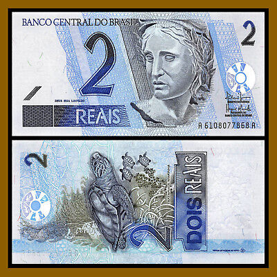 2001 Brazil 2 Reais Banknote with Hawksbill Sea Turtles P# 249b