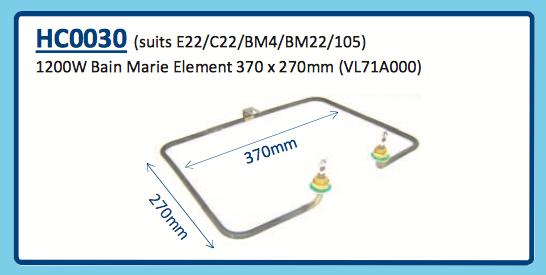 1200W BAIN MARIE ELEMENT 370 x 270mm (VL71A000) E22 C22 BM4 BM22 105 HC0030