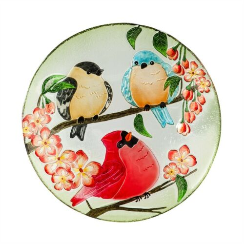 3 Birds Floral Glass Bowl Bird Bath 18 Outdoor Garden Decor